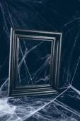 Fotografie Černý rám v pavučina, strašidelný halloween výzdoba