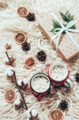 Photo flat lay with cup of cocoa with marshmallows, wrapped christmas present and cotton twig on woolen background