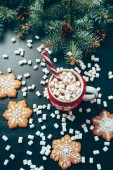 Photo flat lay with cup of hot drink with marshmallow, cookies and pine tree branches on black tabletop, christmas and new year holidays concept