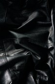 full frame of black leather jacket as background