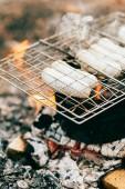 Fotografie řada uzenin pečení na grilu rošt nad ohněm venku