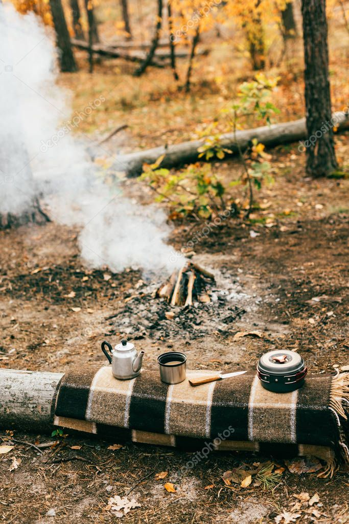 camping kitchenware and smoking fireplace in autumn forest