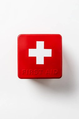 top view of first aid kit red box isolated on white