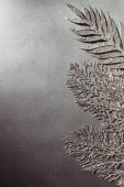 Fotografie Draufsicht der glänzende dekorative Silber Zweige auf grauem Hintergrund