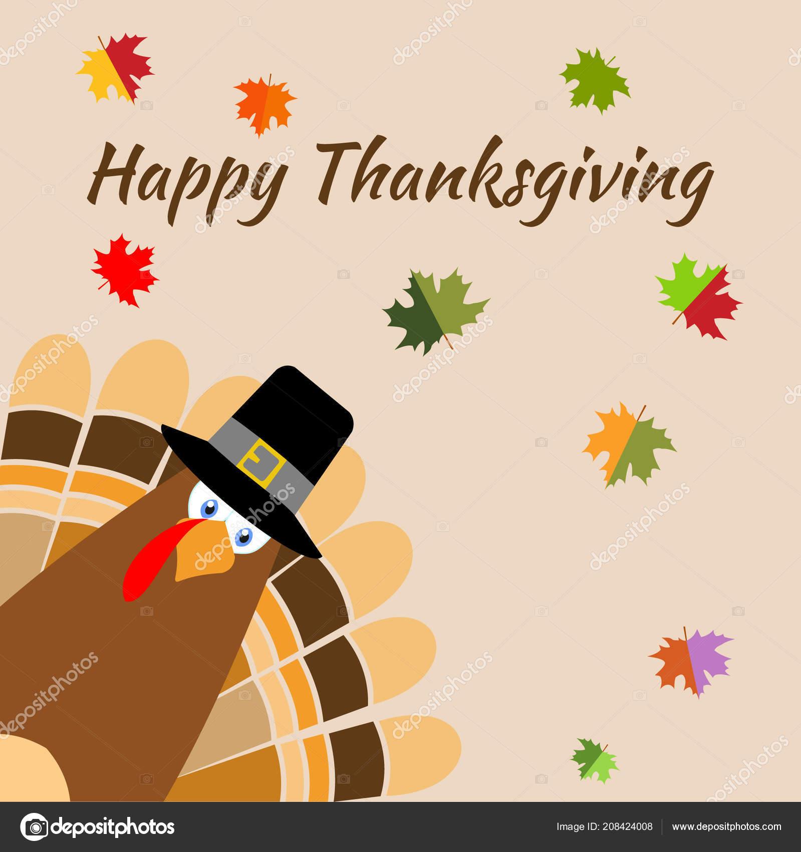 Thanksgiving greeting card turkey bird pilgrim hat funny cartoon thanksgiving greeting card turkey bird pilgrim hat funny cartoon character stock vector m4hsunfo
