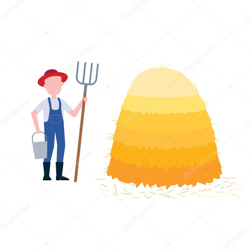 Farmer with hayfork and bucket near pile of hay flat style desing vector illustration isolated on white background. Symbol of fall wheat harvesting