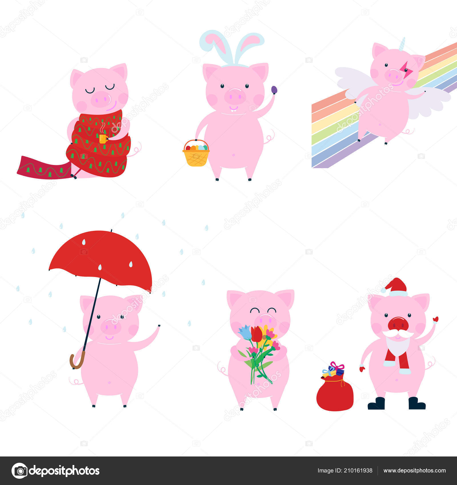 Cute Funny Pig Character Set Symbol 2019 Chinese New Year Stock