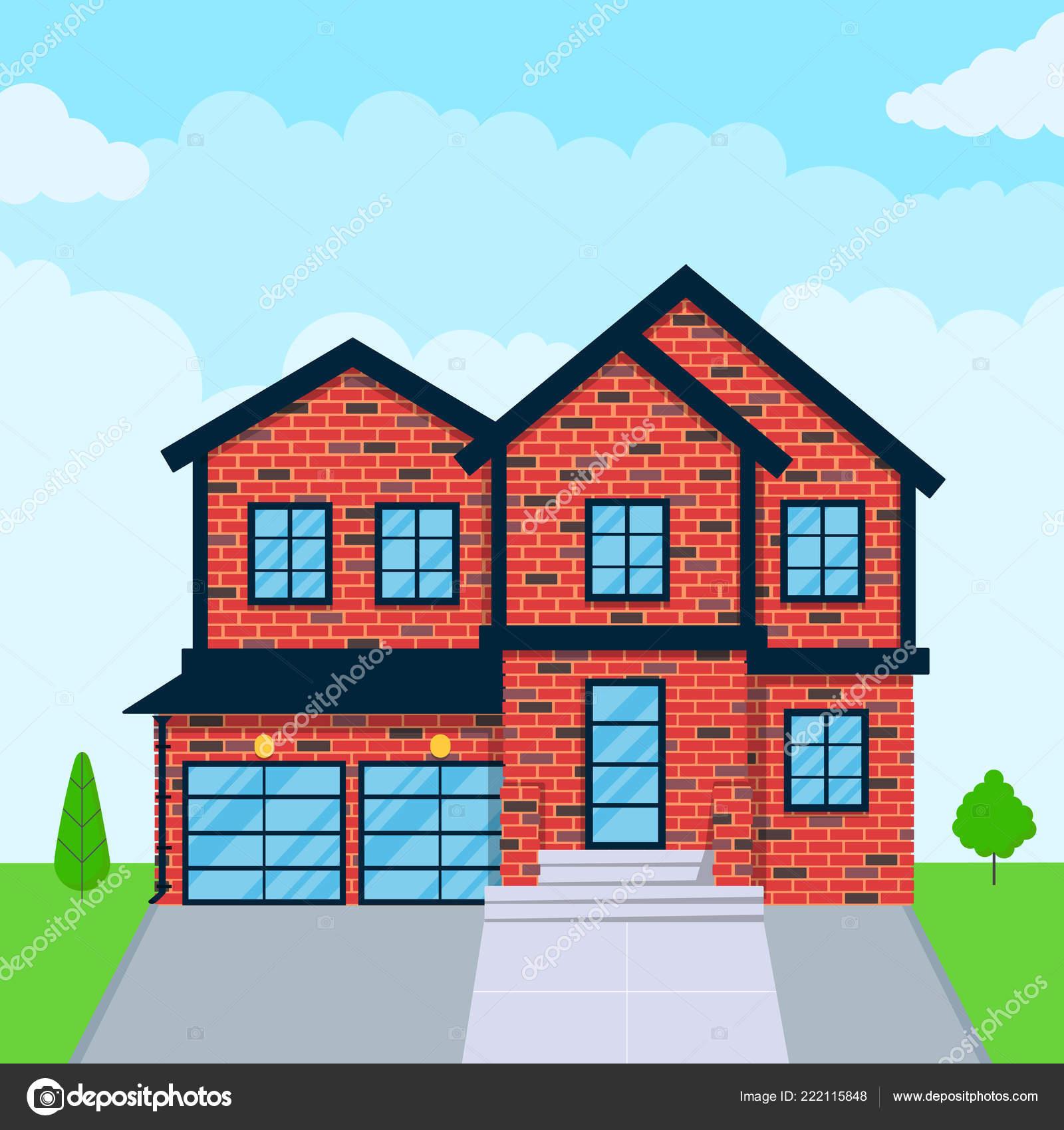 Brick House Exterior Flat Style Design Vector Illustration Roof Windows Stock Vector C Mironovkonstantin 222115848