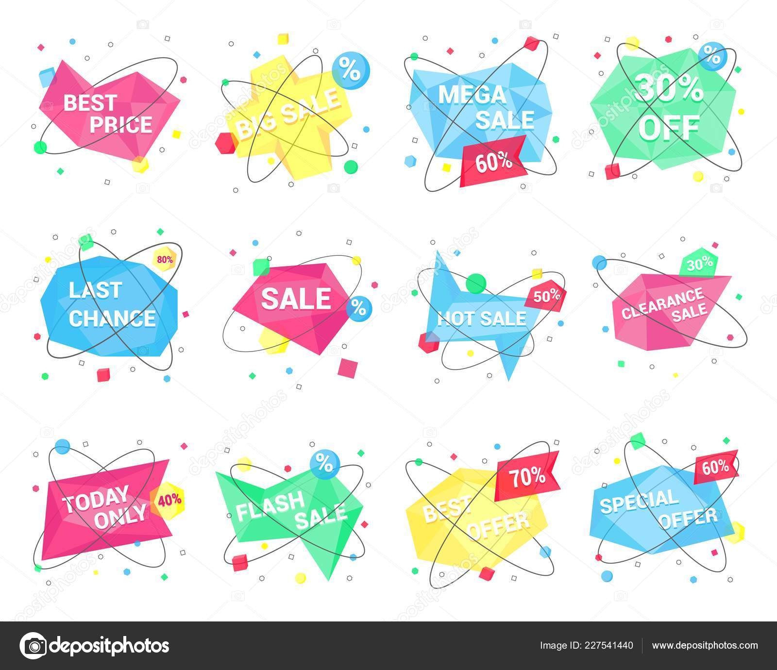 2ad2a6d4ec73b 12 Sale geometric banner flat style design vector illustration set isolated  on white background. Sale text on geometric stone shape form with orbits  and ...