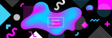 Modern memphis style fluid liquid neon mesh colors gradient abstract background poster with living shapes vector illustration. Abstract background of liquid colorful shapes. 3d realistic design effect