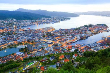 Bergen city scape, bird eyes view from the of  mountain Floyen.