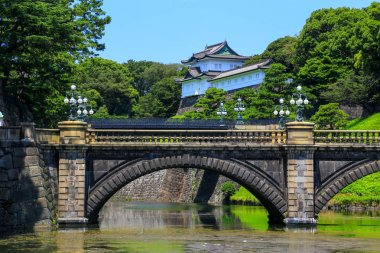 The Nijubashi Bridge is a bridge that connects the Imperial Palace front Plaza called the Kokyo Gaien and the Imperial Place over a deep moat.
