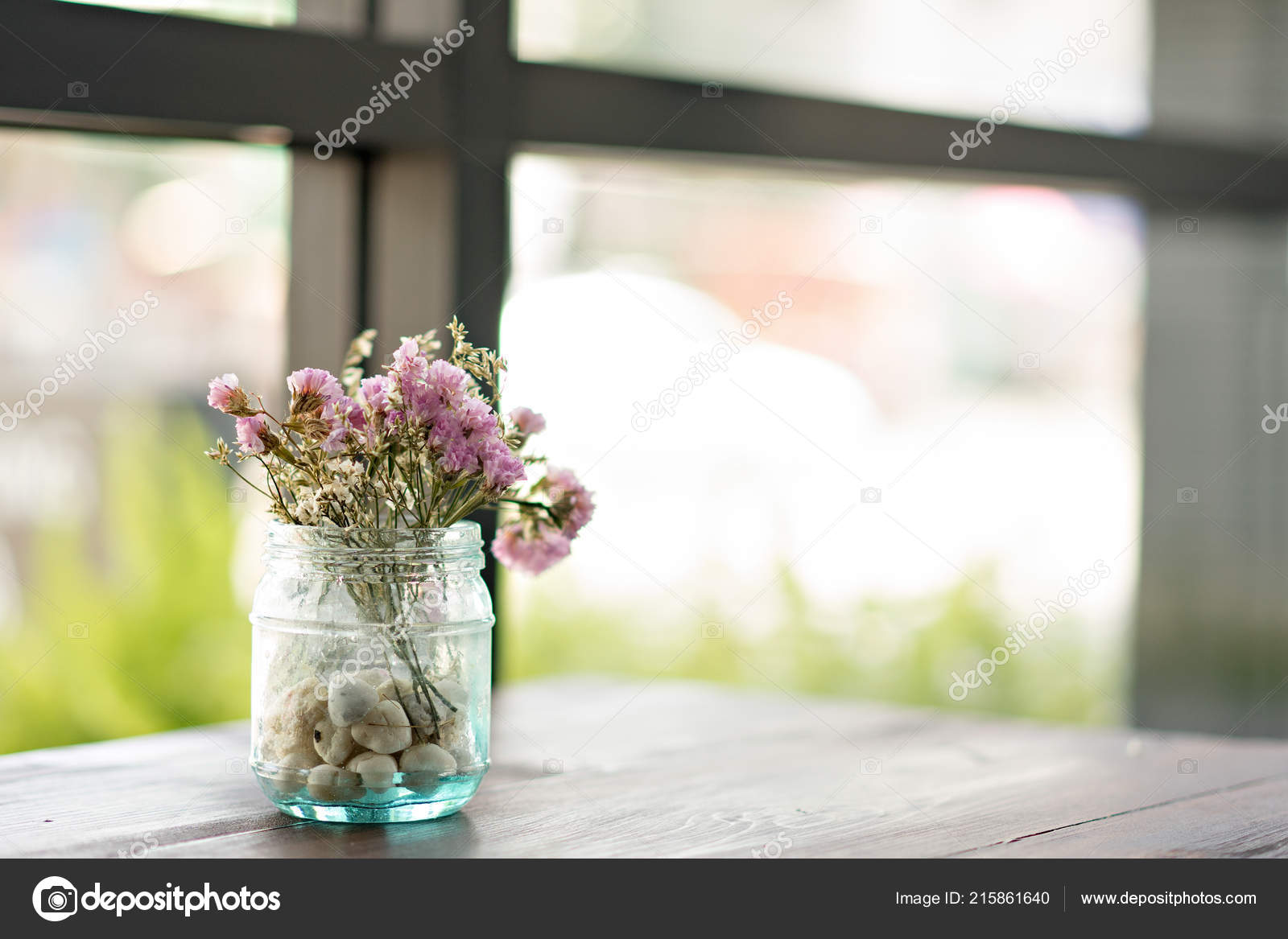 Dry Flowers Vase Wooden Table Decorate Home Coffee Cafe Concept Stock Photo C Bulltus Casso 215861640