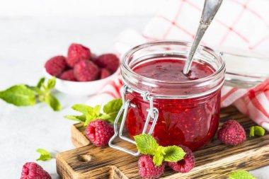 Fresh strawberry jam in glass jar. Homemade preservation. stock vector