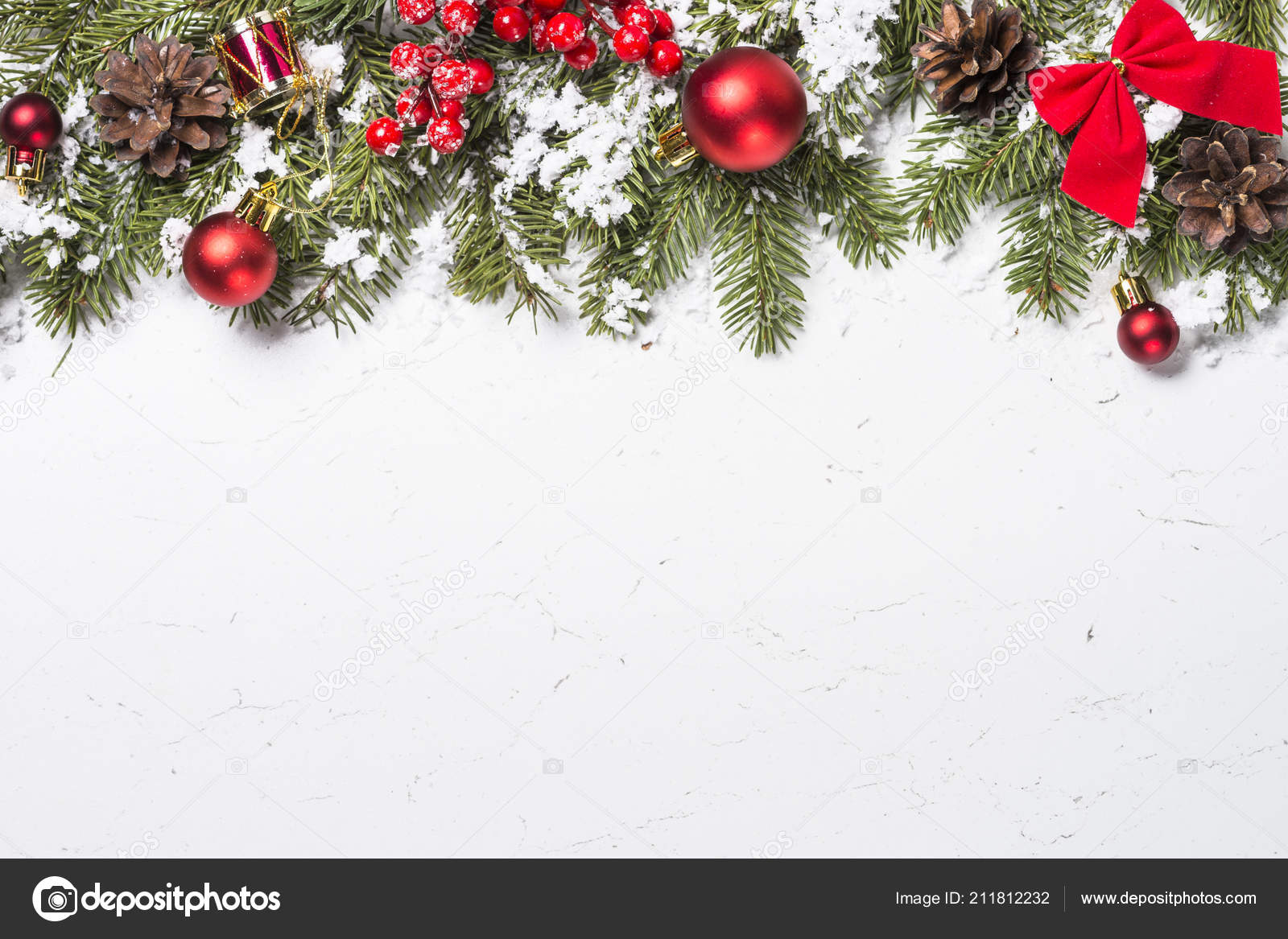 Christmas Background Red Christmas Decorations Snow Fir Tree