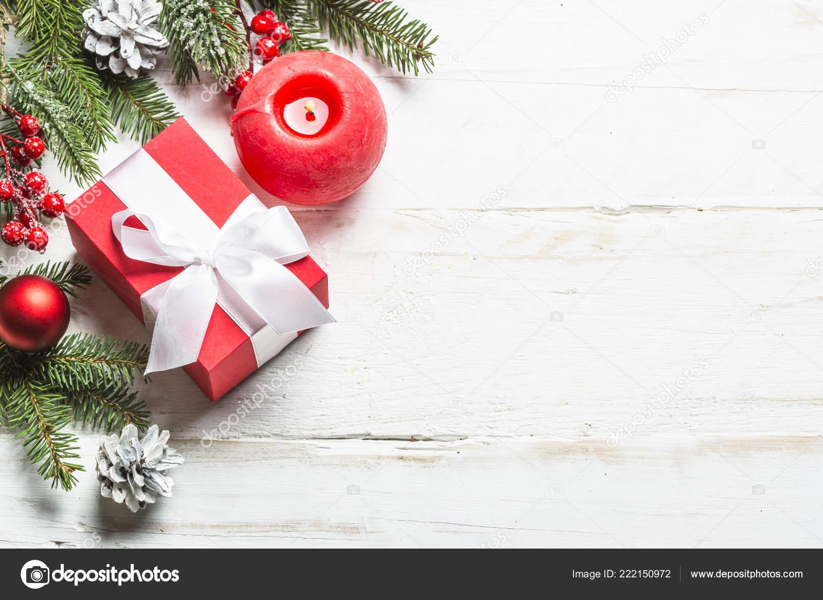 Christmas Background Pic.Christmas Background With Fir Tree Present Box And