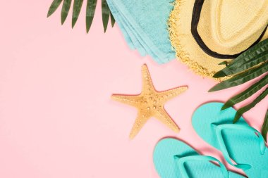 Summer flat lay background. Palm leaves, flip flops, pineapple, sunglasses, hat and starfish on pink background. stock vector