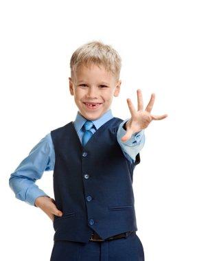 Schoolboy showing palm