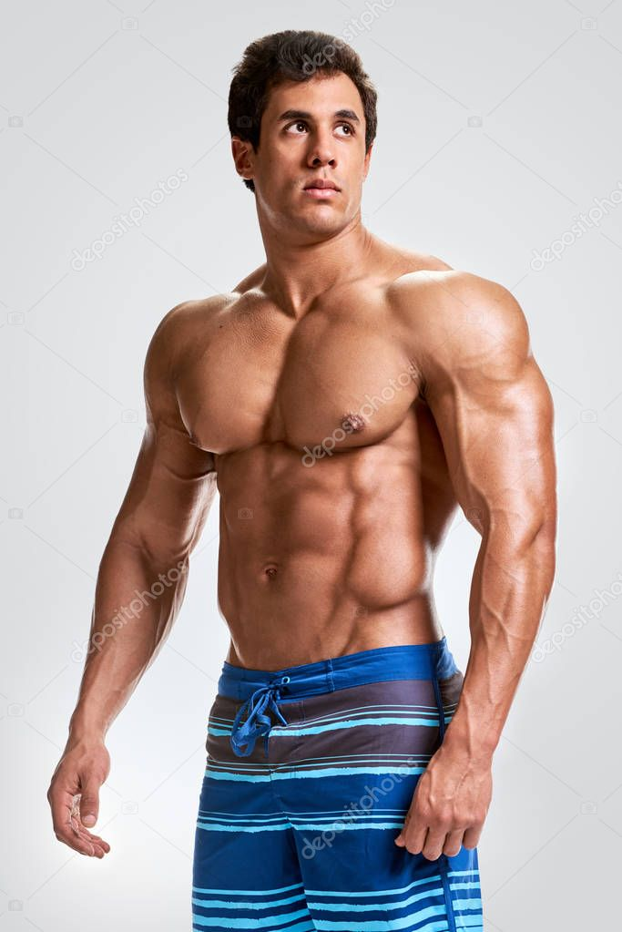 Portrait Of Young Bodybuilder Man Stock Image - Image of