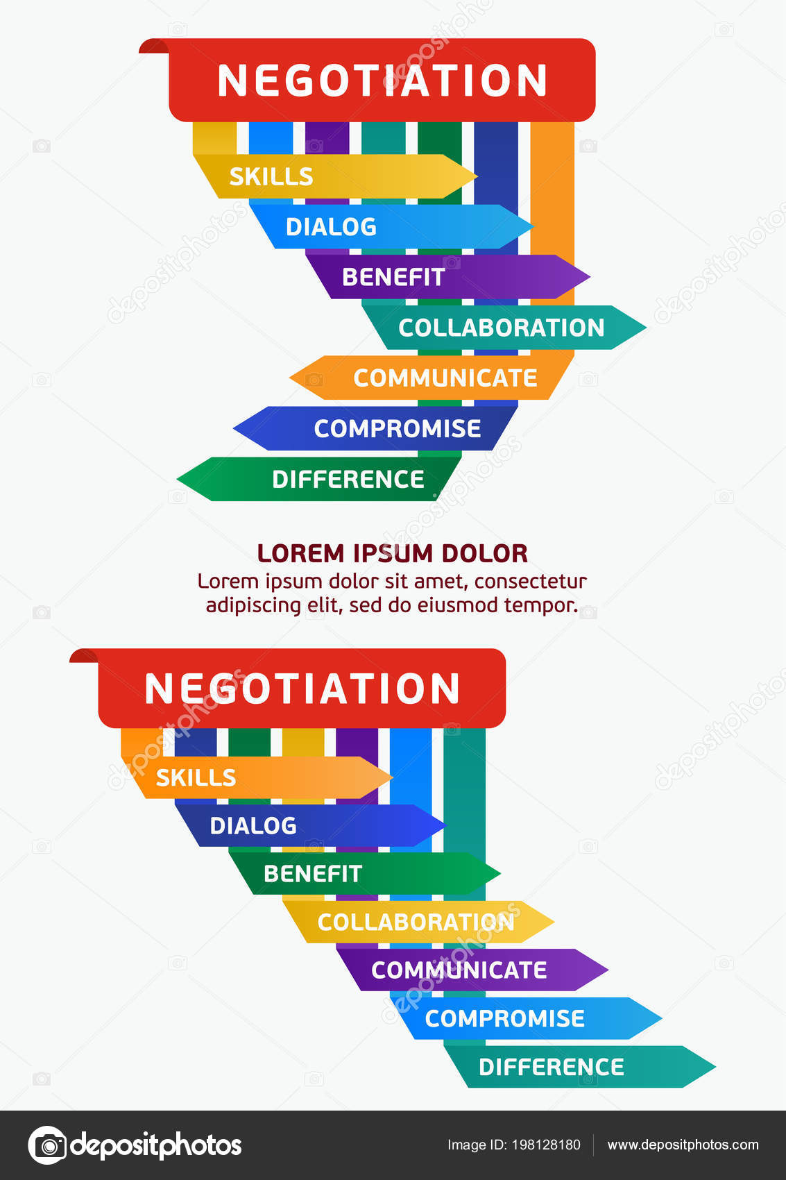 infographics stages negotiations steps success strategy business