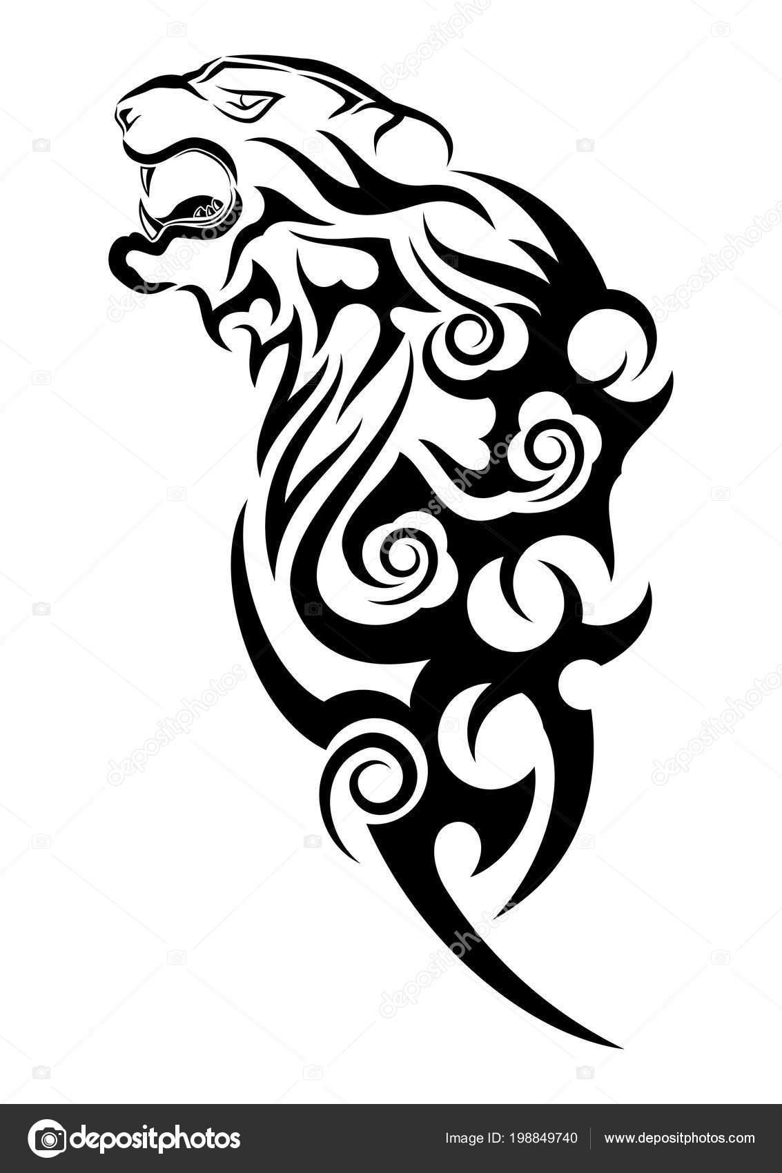 Tygrys Rage Czarny Tribal Tatuaż Ilustracja Wektorowa Głowy