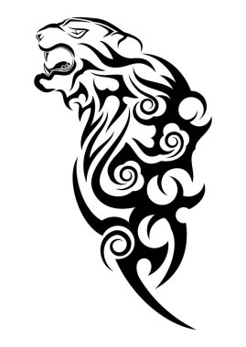 Tiger in rage. Black tribal tattoo. Vector illustration of the head of a tiger.