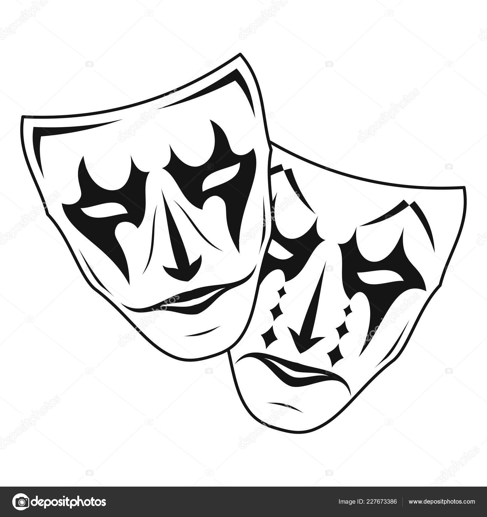 original vector illustration theatre masks comedy tragedy vintage