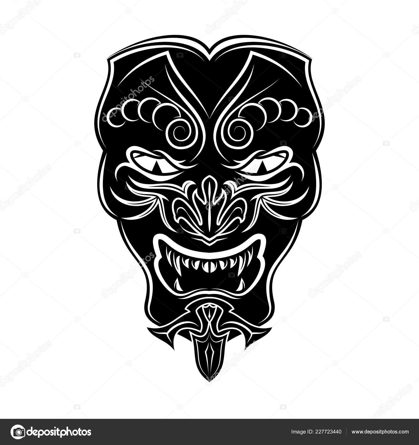 Vector Imagen Una Máscara Samurai Dibujo Una Máscara Japonesa