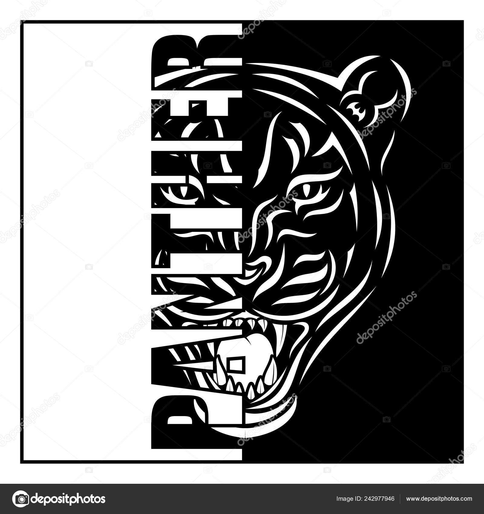 Vector imagen cabeza una pantera depredador selva leopardo negro tatuaje archivo imágenes vectoriales