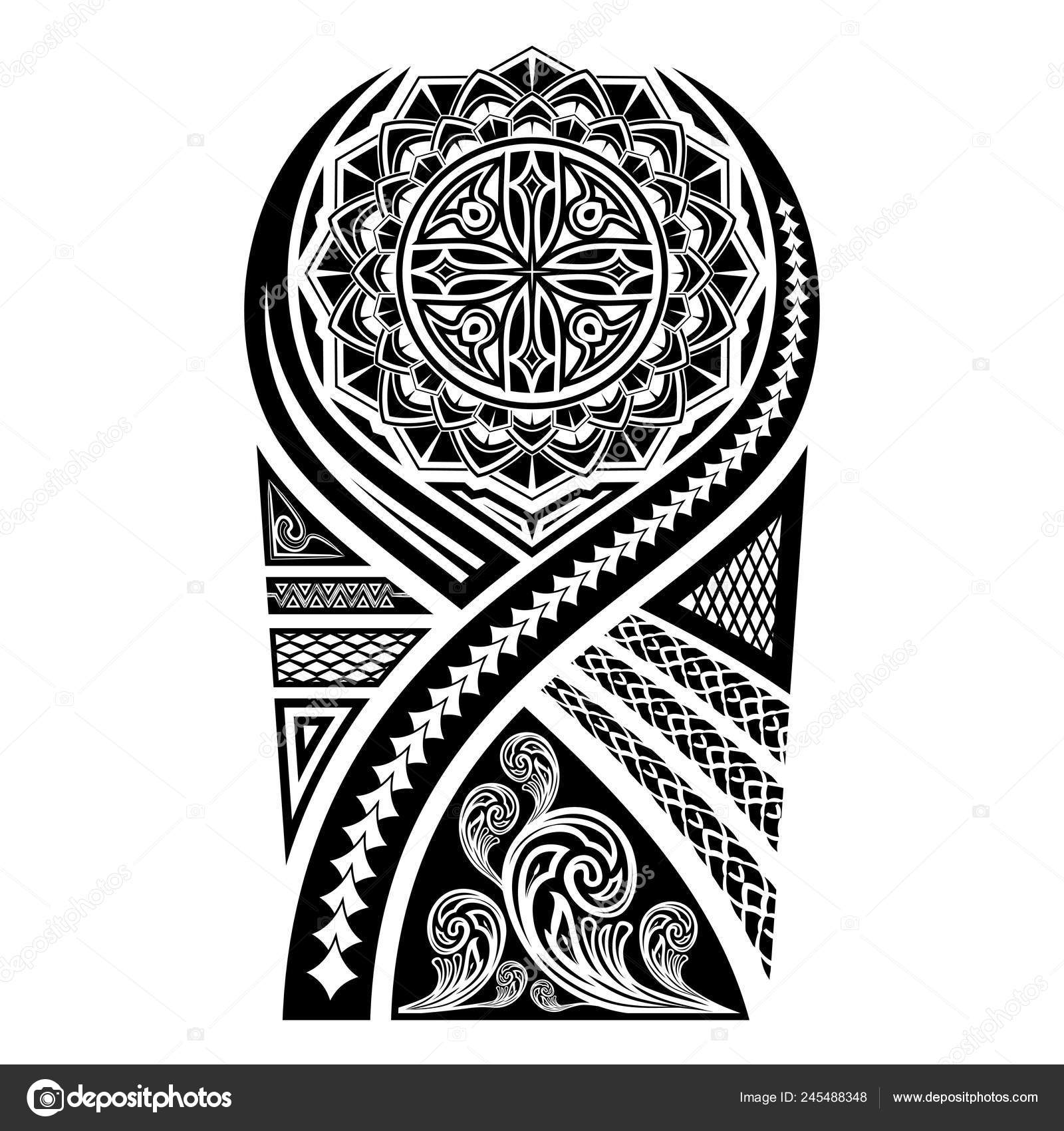 7067fc7ae9e2d Vector Image Sketch Polynesian Tattoo Stylized Sun Flower Ornament Patterns  — Stock Vector