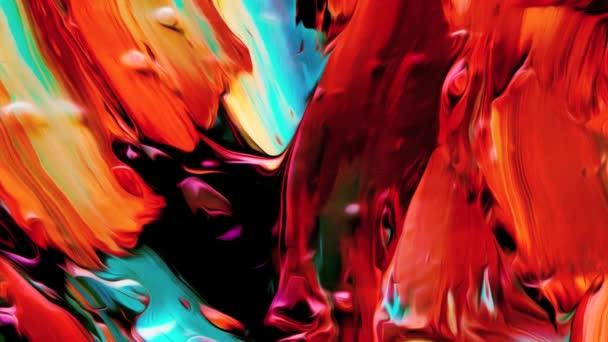 Barevný mix inkoustu a gouache mraky ve vodě. Stylová 3D abstraktní animace Barva vlnitá hladká stěna. Koncept vícebarevný tekutý vzor. Purpurově modré reflexní povrchové makro. Moderní barevná tekutina