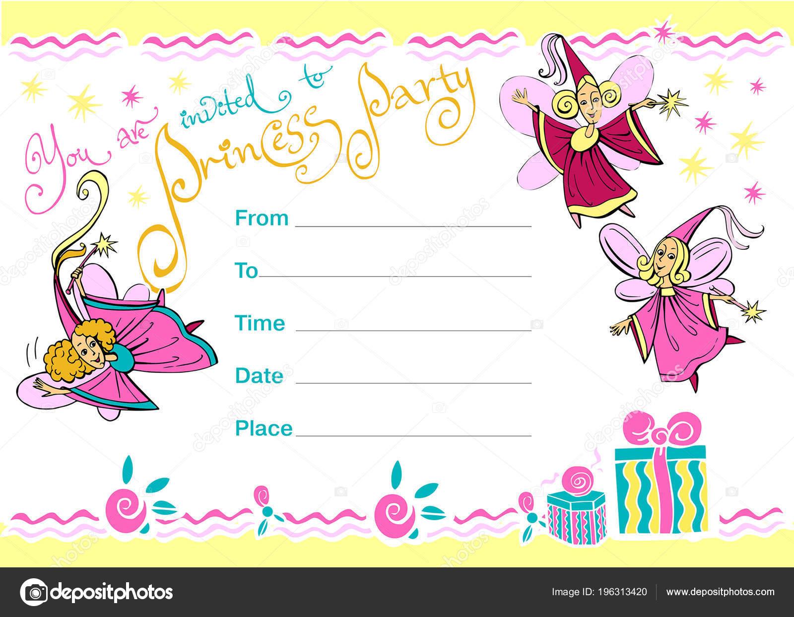 princess party invitation invitation children birthday theme magic