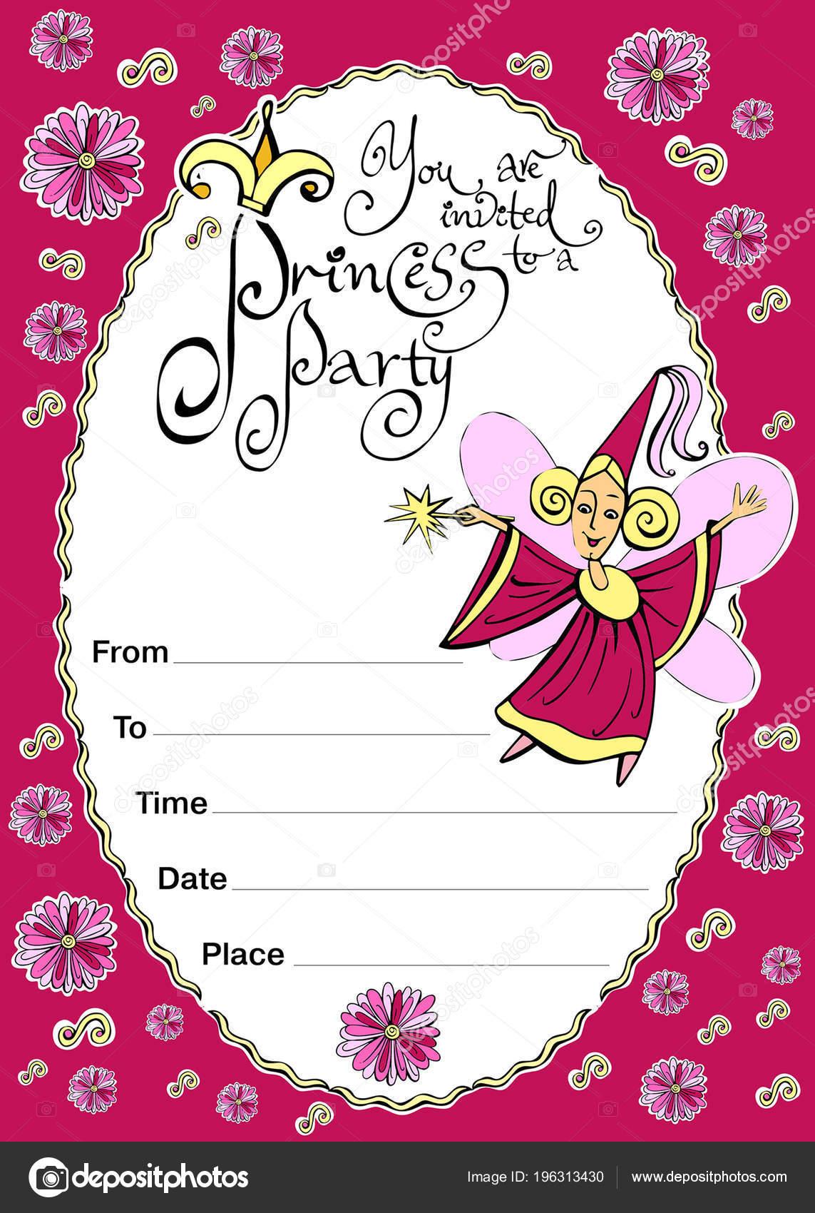 Invito Compleanno Bambini Sul Tema Della Magia Fate Principesse