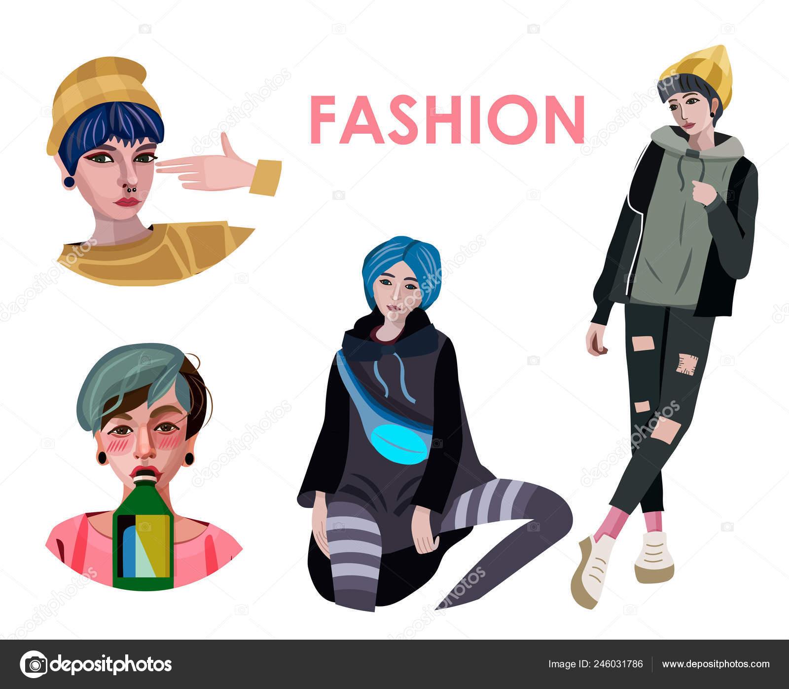 Fashion Poster Stylish Girls White Background — Stock Vector
