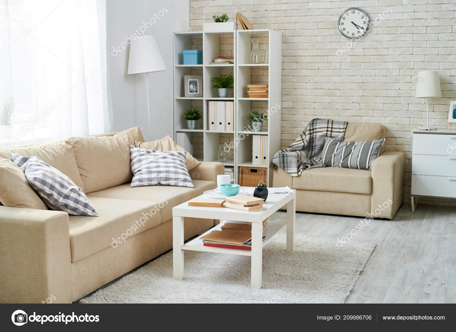 Modern Living Room Simple Interior Design Clock Hanging Brick Wall Stock Photo C Seventyfour 209986706