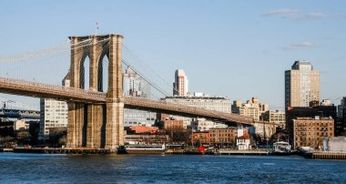 NEW YORK, USA. February 2009. Panoramic view of the Brooklyn Day Bridge.