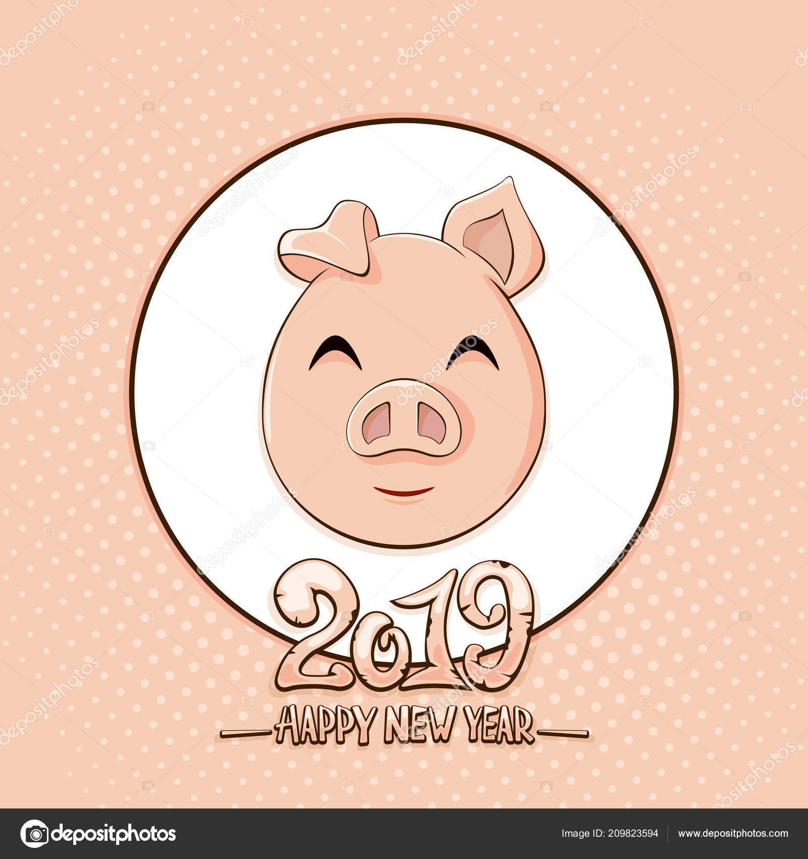 text happy new year 2019 cute little pig pink background stock vector