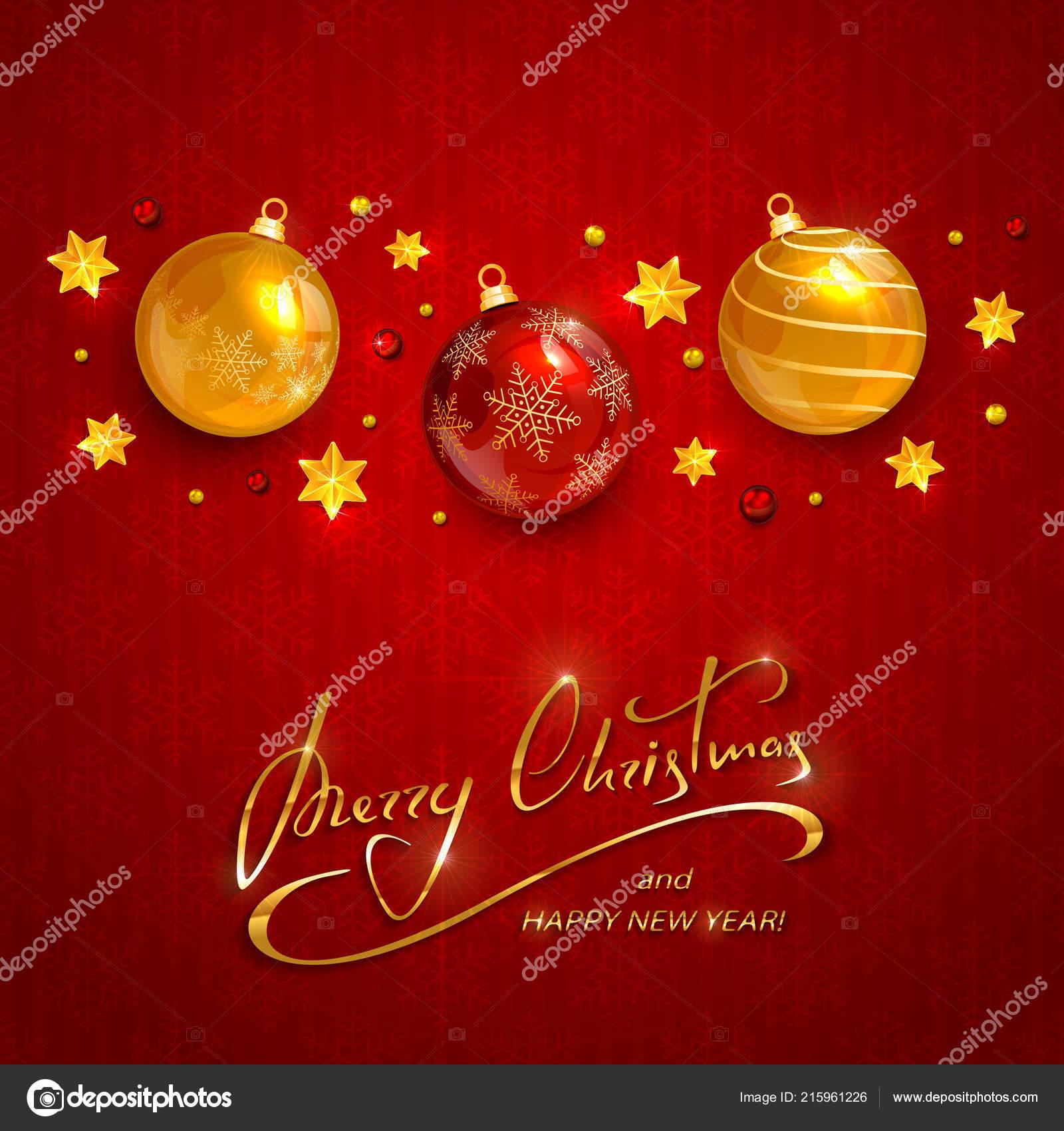 Schriftzug Frohe Weihnachten Beleuchtet.Weihnachtskugeln Und Sterne Mit Perlen Auf Roten Urlaub