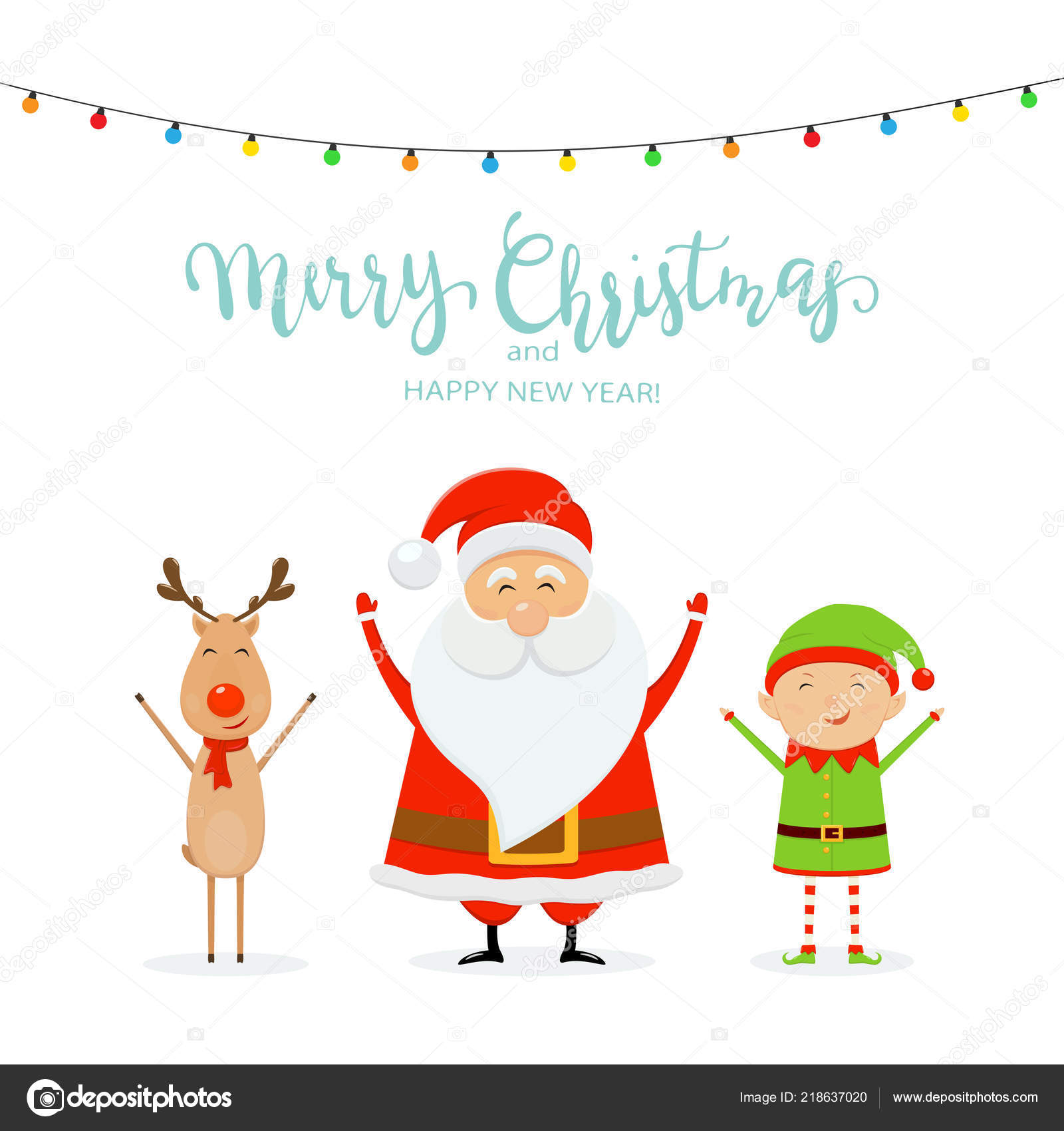 Happy Santa Claus Reindeer Cute Elf Christmas Lights Text