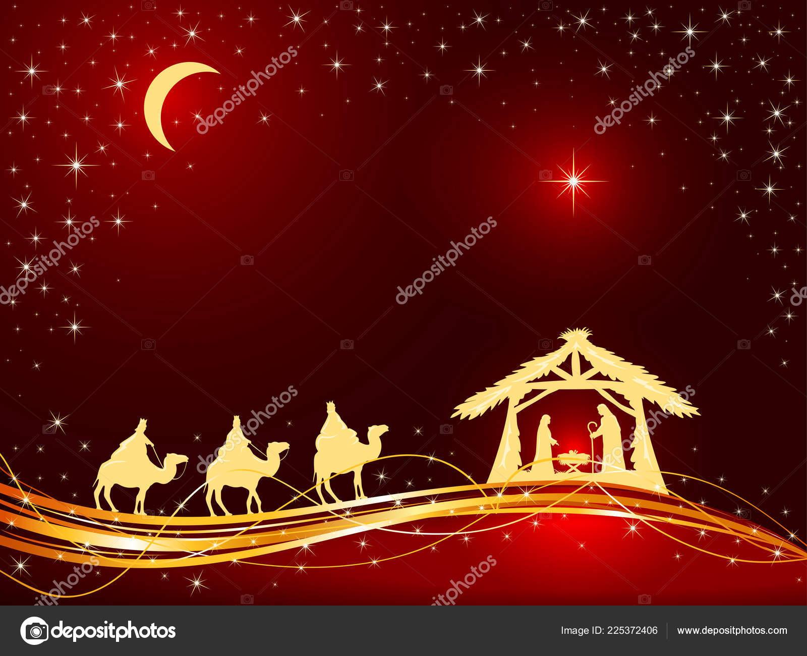Christian Christmas Theme Birth Jesus Shining Star Three Wise Men ...