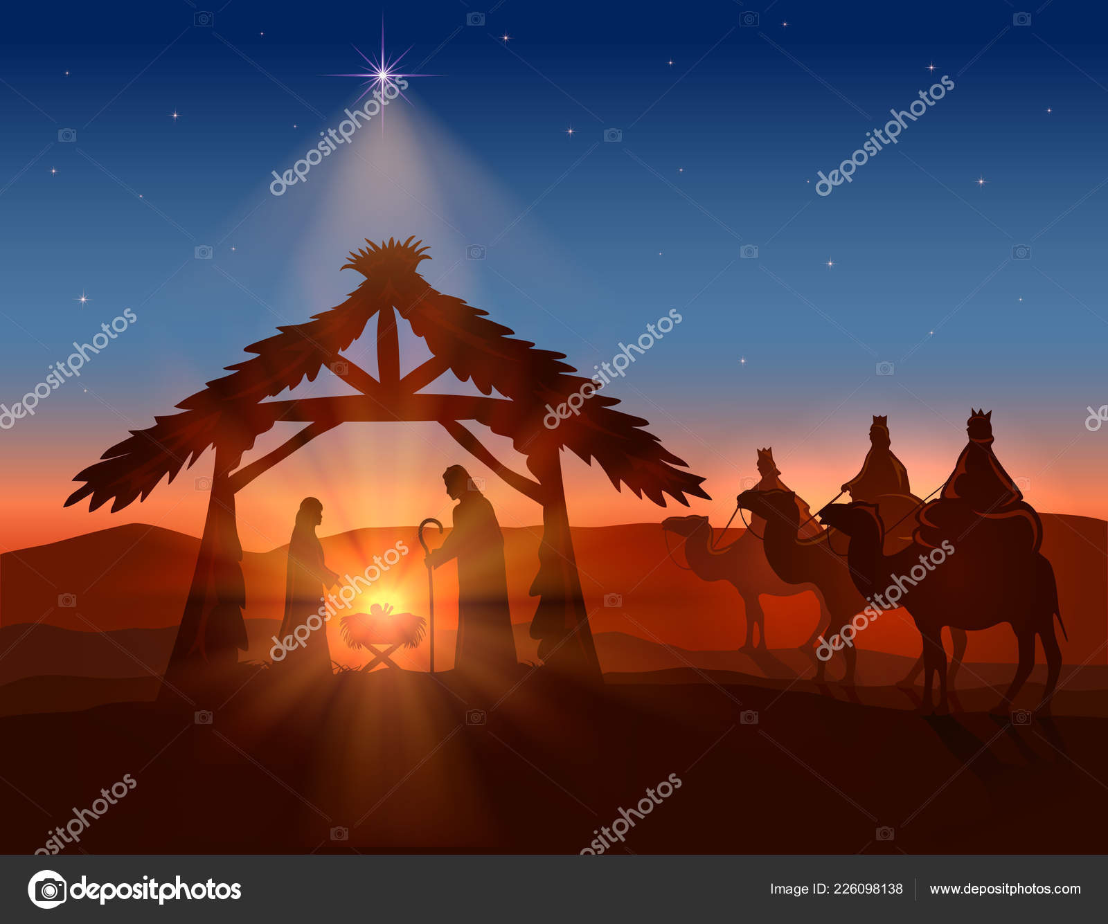 Christian Christmas Background Birth Jesus Shining Star Three Wise ...