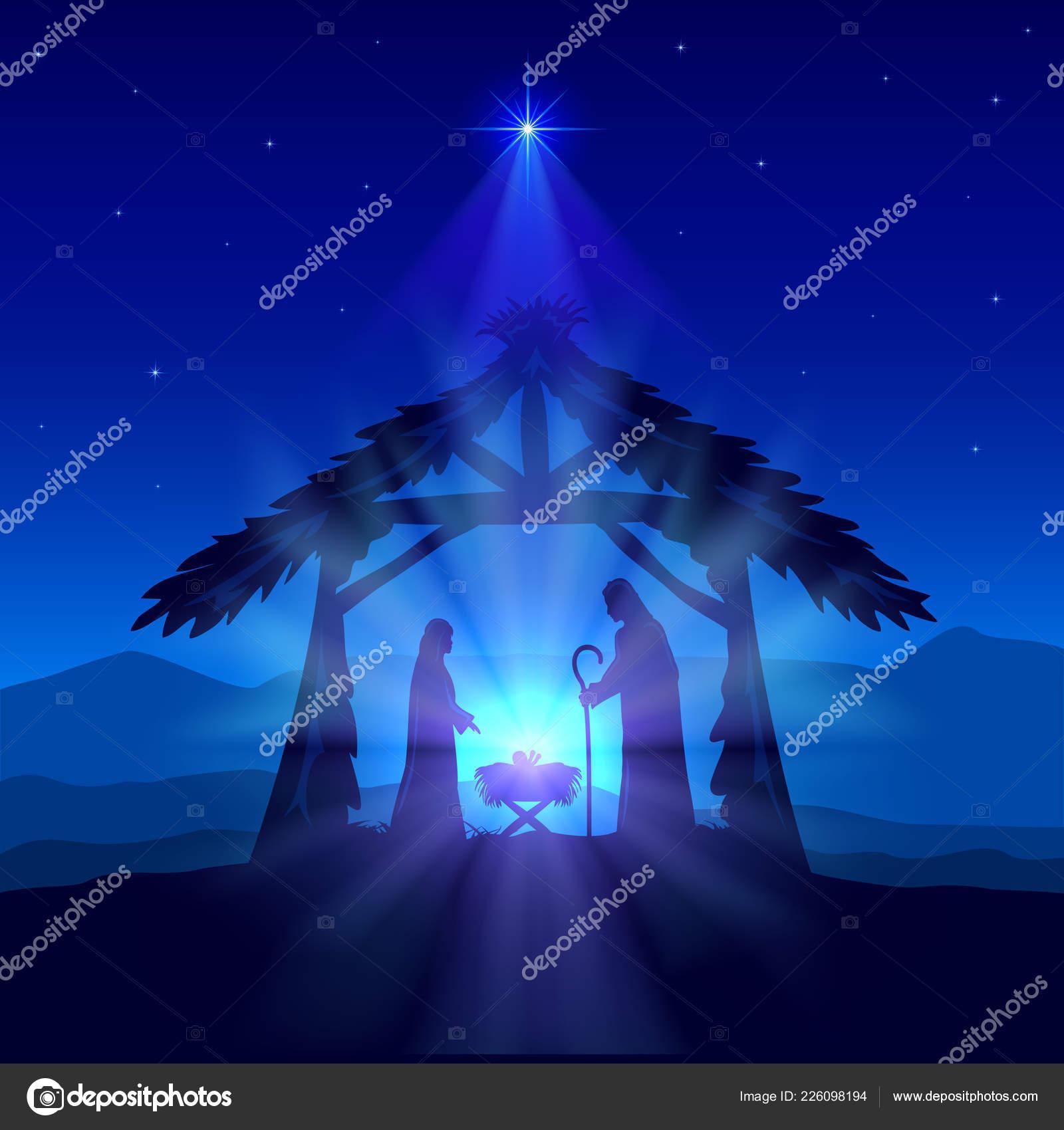 Holiday Theme Blue Christian Background Christmas Star Birth Jesus ...