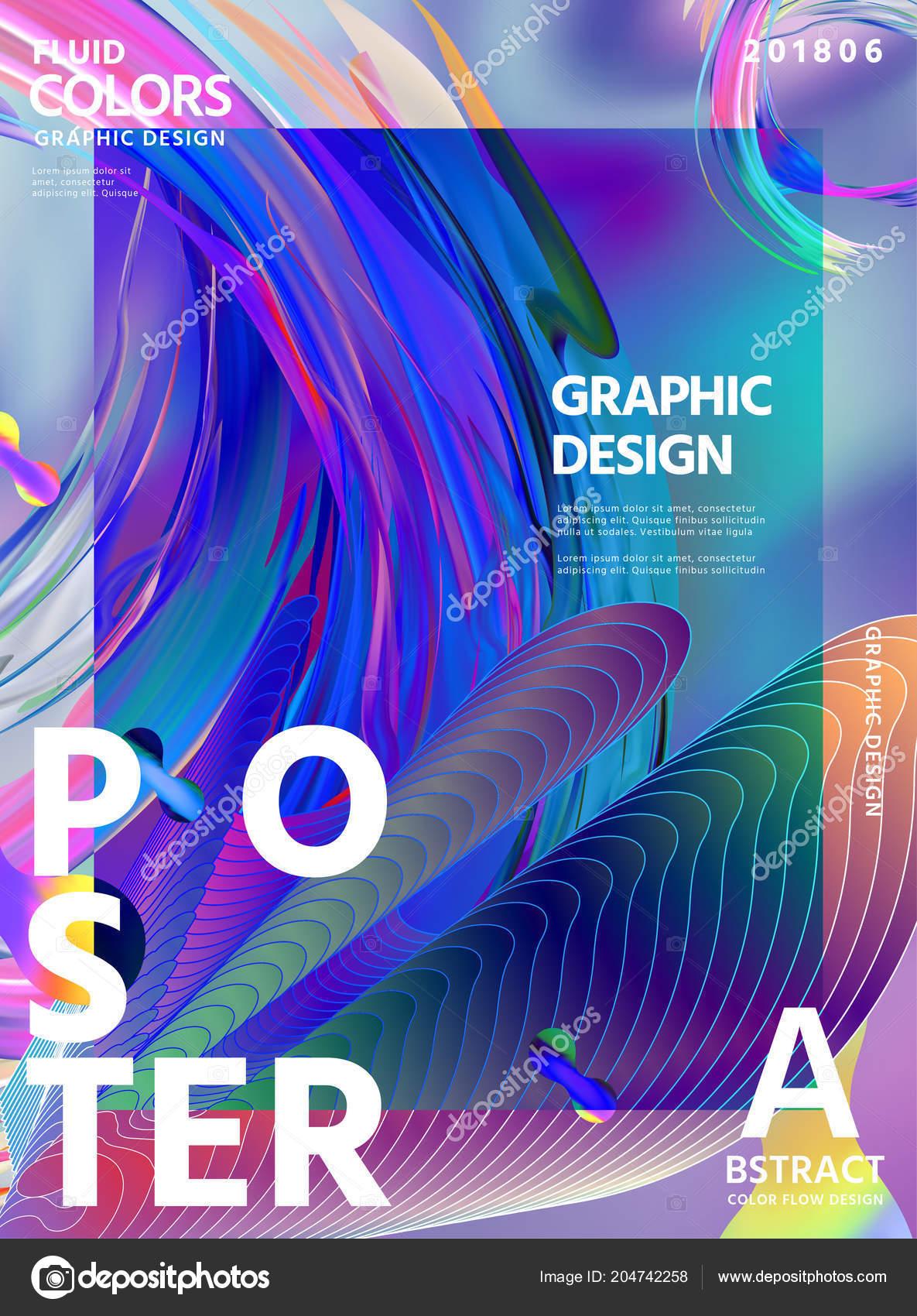 Abstract Fluid Colors Poster Design Wavy Liquid Shape