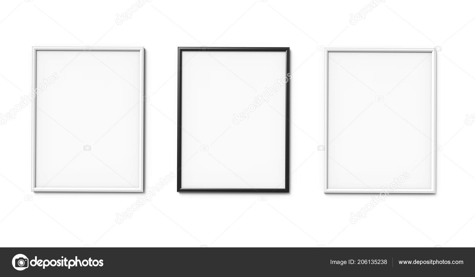 Black White Photo Frames Blank Copy Space Hanging Wall Rendering ...