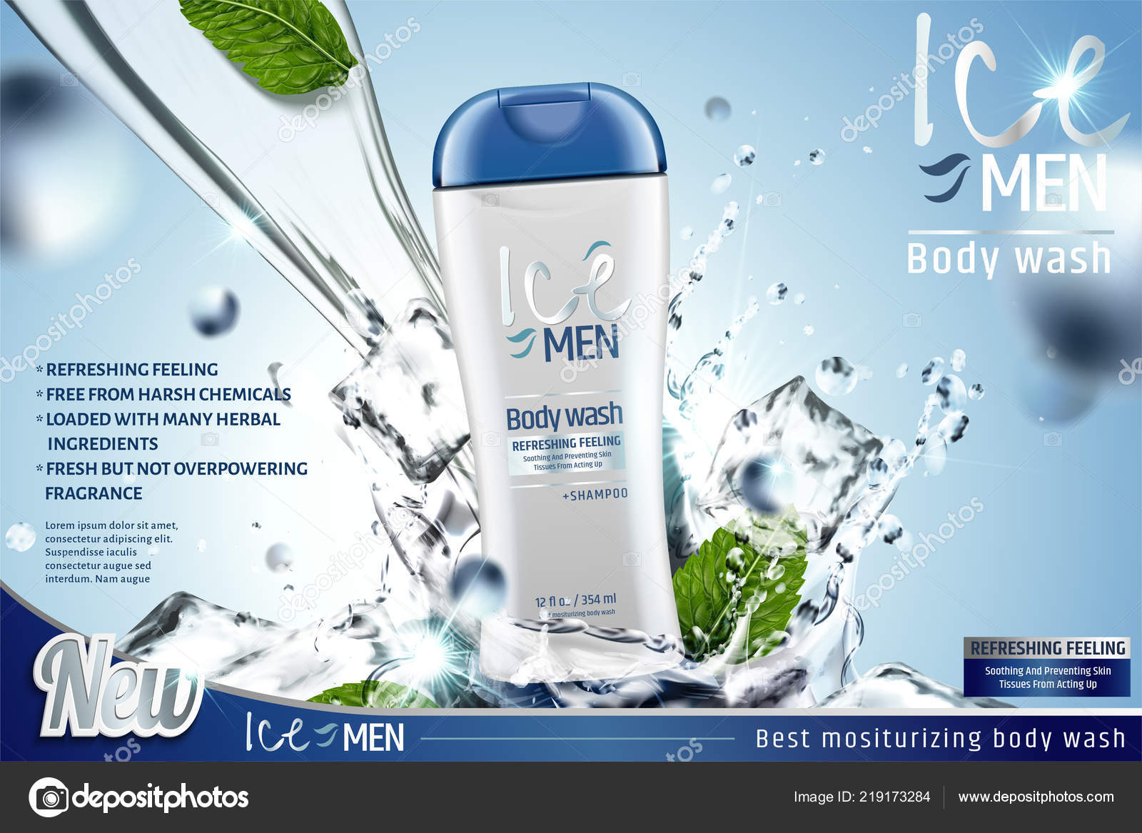 Men Body Wash Mint Leaves Splashing Water Illustration Blue