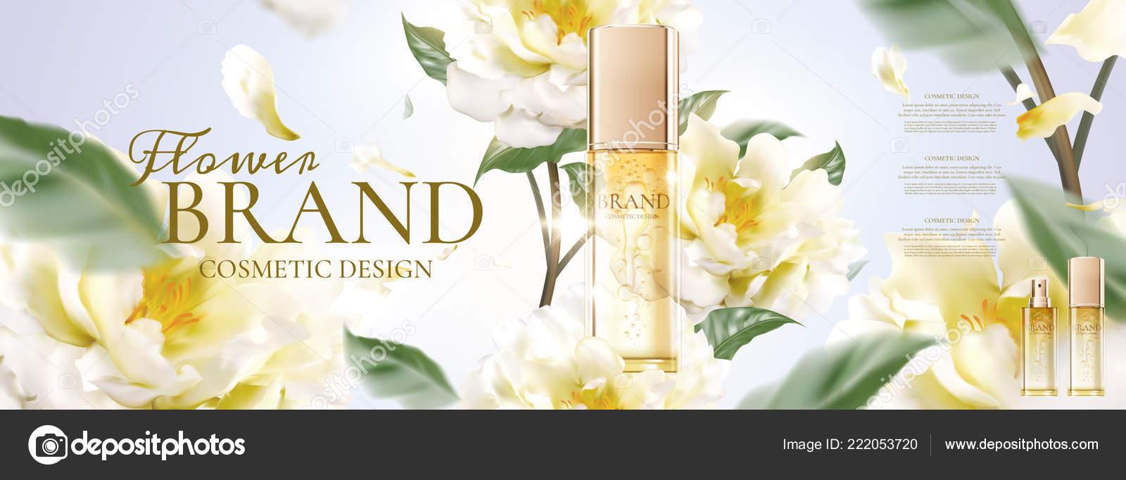 Floral Skincare Banner Ads Petals Flying Product Illustration Stock Vector C Kchungtw 222053720