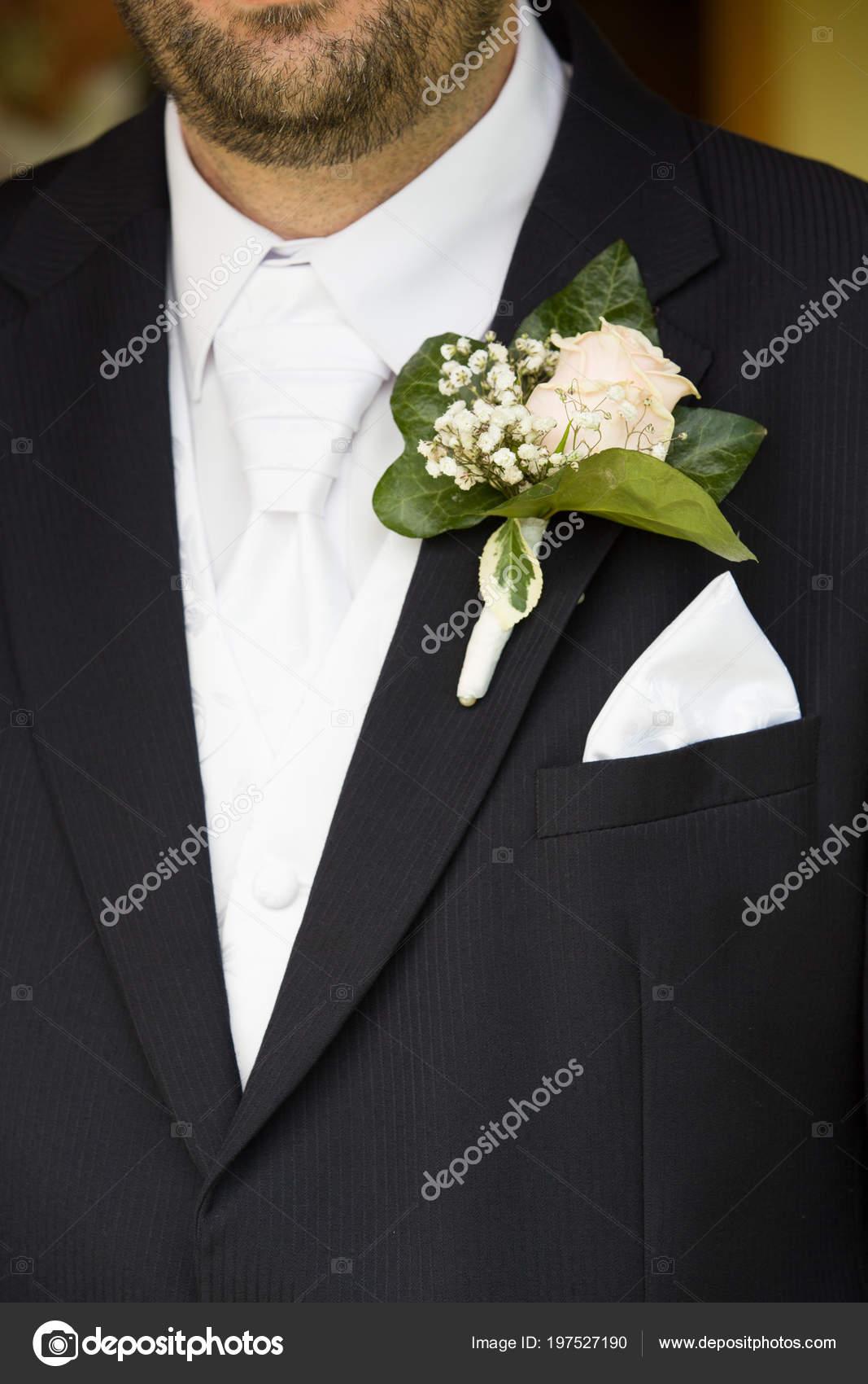 Brautigam Kleidung Detail Hellen Weissen Hemd Und Krawatte Schwarzen