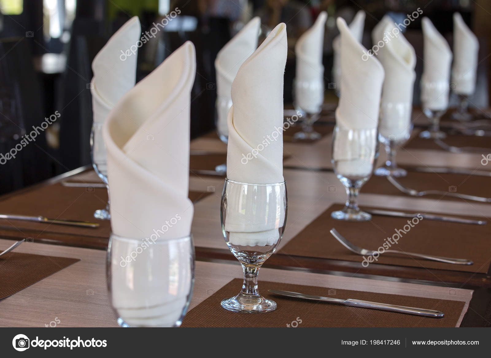 Glasses Napkin Table Restaurant Food Background Table Arrangement