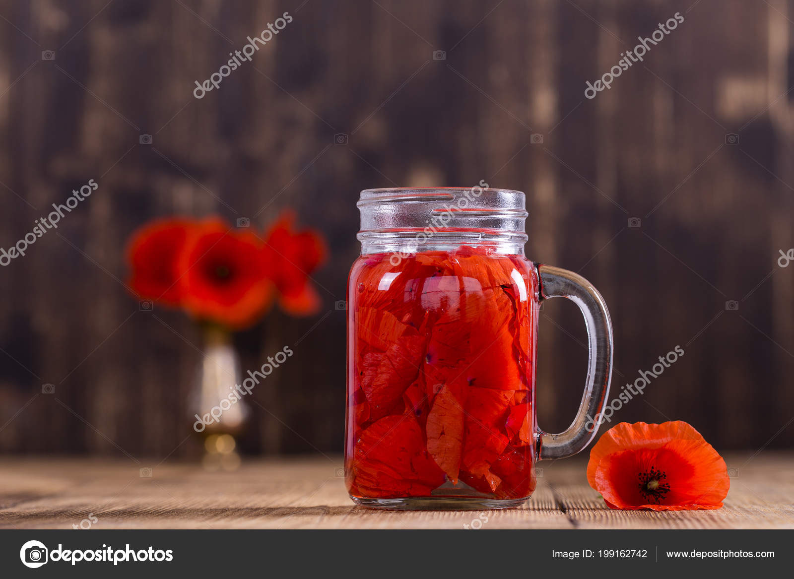 Red Poppy Flowers Tea Kitchen Cabinets And Flower