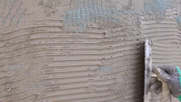 Gut bekannt Hände Eines Manuellen Arbeiter Mit Wand Verputzen Werkzeuge Haus ZJ09